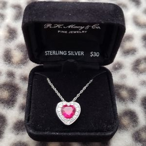 Sterling Silver LC Ruby Heart Pendant Necklace NWT